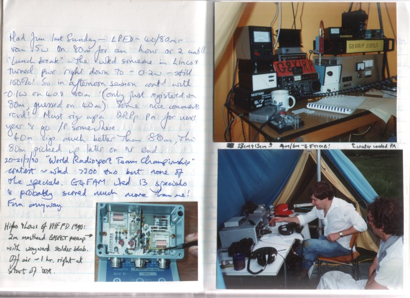 1990 Notebook page abt VHF FD etc.