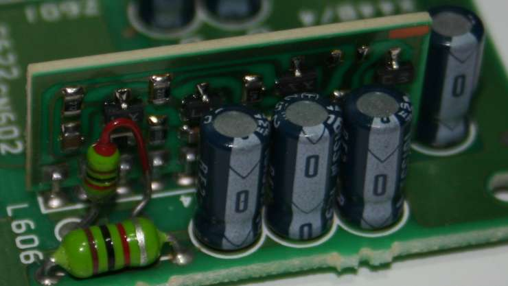 Close-up of DC-DC converter board